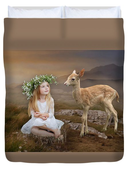 Duvet Cover featuring the mixed media Into The Wild by Marvin Blaine