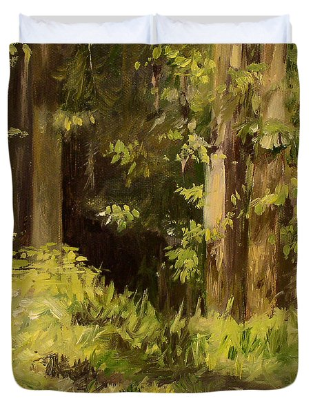 Duvet Cover featuring the painting Into The Woods by Laurie Rohner