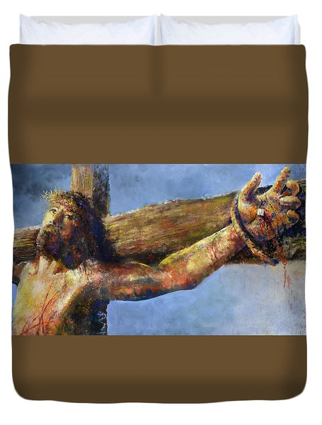 Duvet Cover featuring the painting Into Your Hands by Andrew King