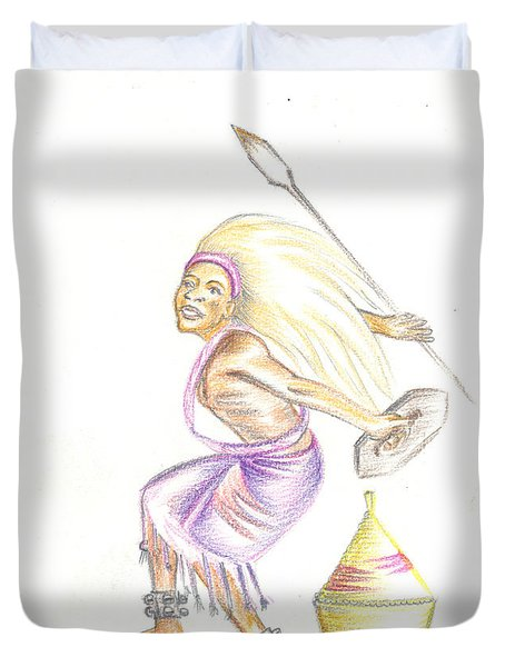 Duvet Cover featuring the painting Intore Dance 2 From Rwanda by Emmanuel Baliyanga