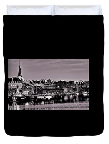 Duvet Cover featuring the photograph Intra Muros At Night by Elf Evans