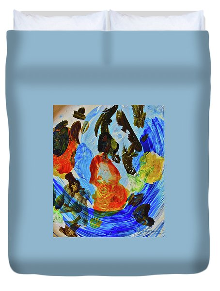 Duvet Cover featuring the painting Intuitive Painting  215 by Joan Reese