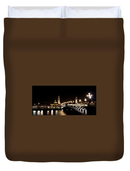 Duvet Cover featuring the photograph Invalides At Night 1 by Andrew Fare