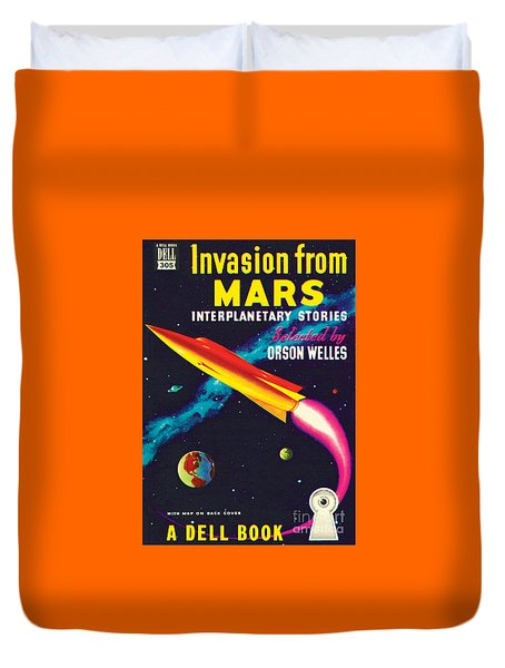 Duvet Cover featuring the painting Invasion From Mars by Malcolm Smith