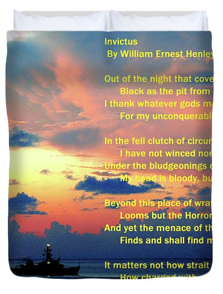 Invictus By William Ernest Henley Duvet Cover