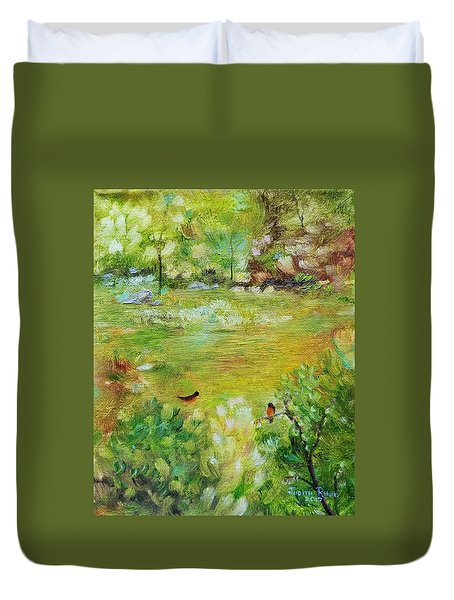 Duvet Cover featuring the painting Invincible Spring by Judith Rhue