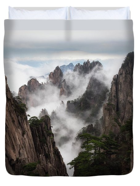 Invisible Hands Painting The Mountains. Duvet Cover