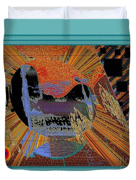 Duvet Cover featuring the digital art Inw_20a0610a_mortar-black_fxfr-blue by Kateri Starczewski