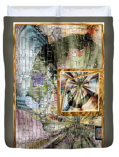 Duvet Cover featuring the digital art Inw_20a5067_peasantries_profile-left by Kateri Starczewski