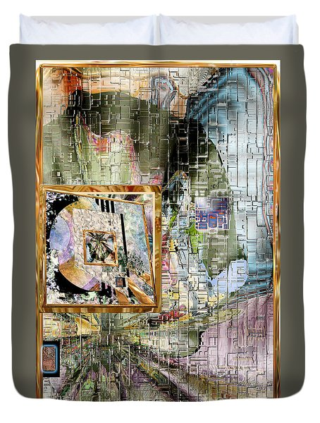 Duvet Cover featuring the digital art Inw_20a5068_peasantries_profile-right by Kateri Starczewski