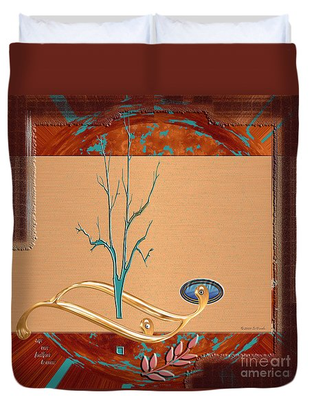 Duvet Cover featuring the digital art Inw_20a5563-sq_sap-run-feathers-to-come by Kateri Starczewski