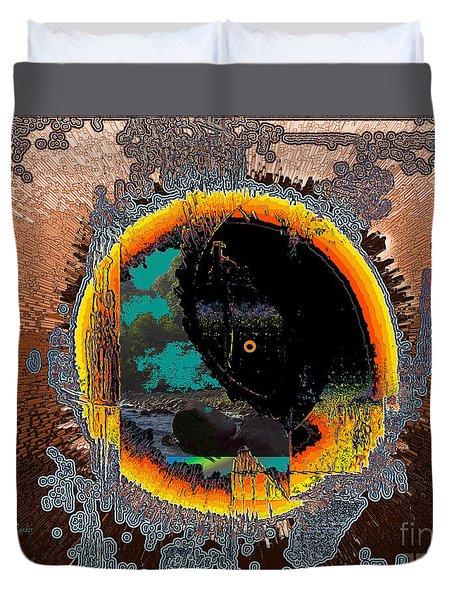 Duvet Cover featuring the digital art Inw_20a5566_morning-cliffs by Kateri Starczewski