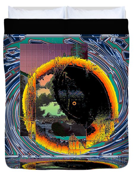 Duvet Cover featuring the digital art Inw_20a5567_morning-cliffs by Kateri Starczewski