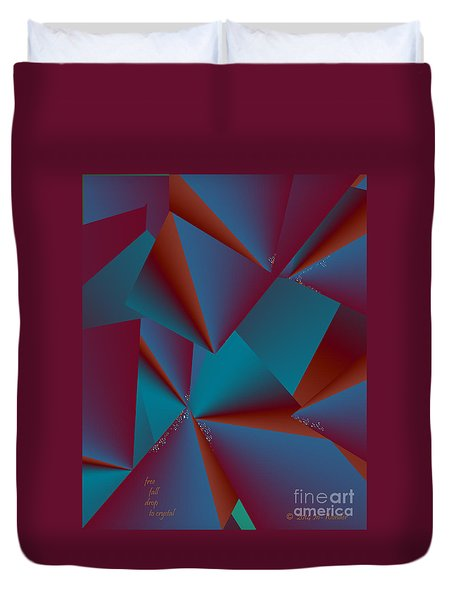 Duvet Cover featuring the digital art Inw_20a6146 Free Fall Drop To Crystal by Kateri Starczewski
