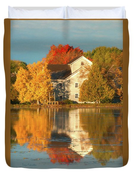 Iola Mill Fall Reflection Duvet Cover by Trey Foerster