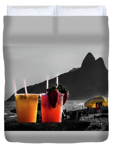 Ipanema With Cocktails Duvet Cover by Cesar Vieira