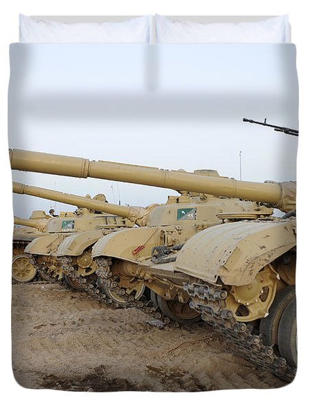 Iraqi T-72 Tanks From Iraqi Army Duvet Cover by Stocktrek Images