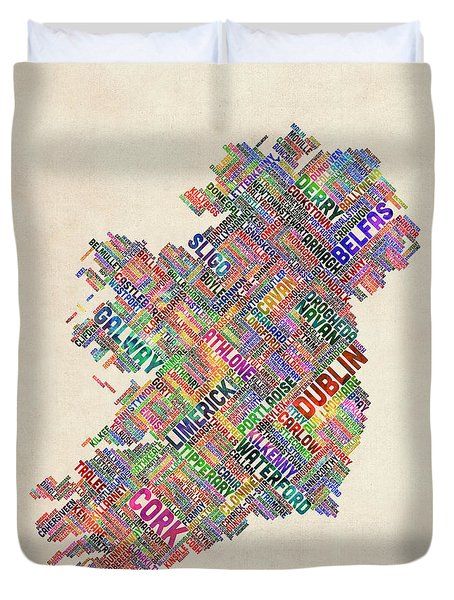 Ireland Eire City Text Map Derry Version Duvet Cover