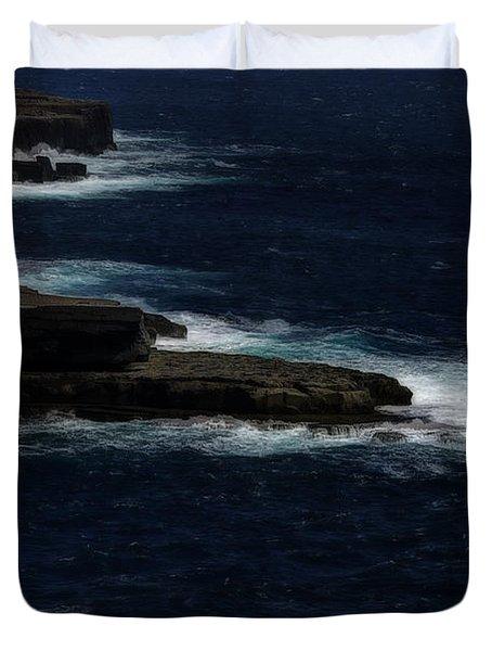 Ireland Inishmore Aran Island Coastal Landscape Duvet Cover