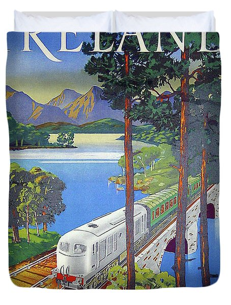 Ireland, Railway, Travel Poster Duvet Cover
