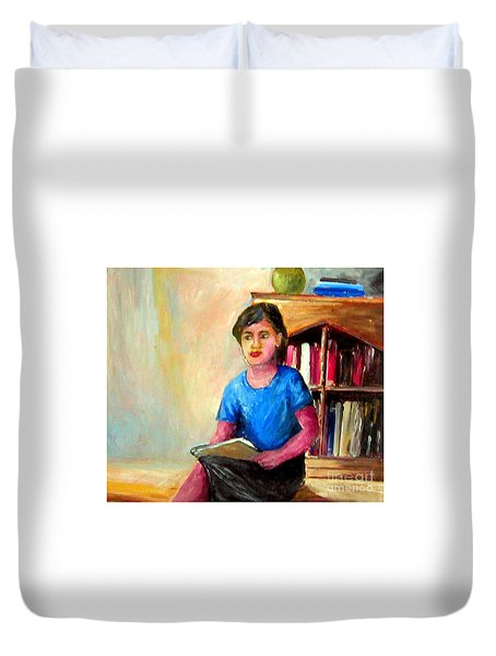 Duvet Cover featuring the painting Irene by Jason Sentuf