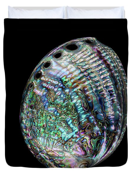 Duvet Cover featuring the photograph Iridescence On The Half-shell by Rikk Flohr