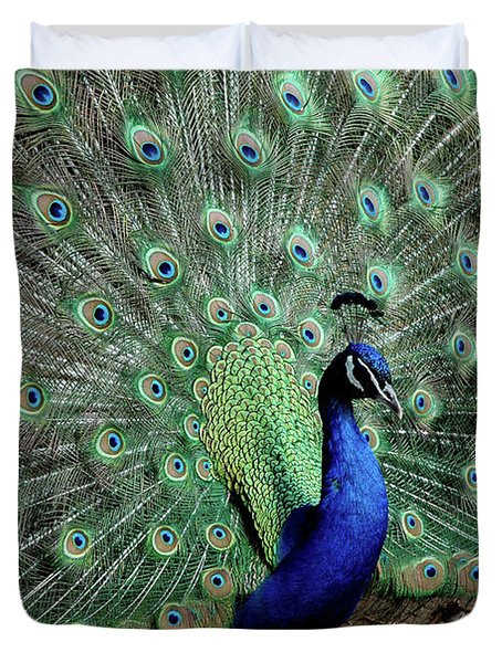 Iridescent Blue-green Peacock Duvet Cover