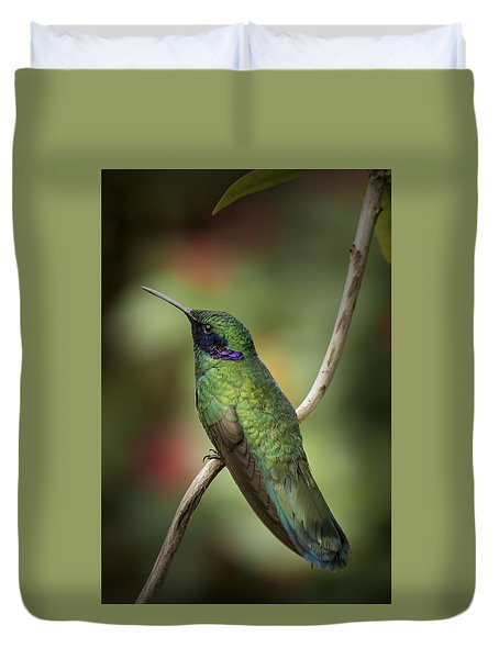 Duvet Cover featuring the photograph Iridescent Hummingbird With Purple  by Penny Lisowski