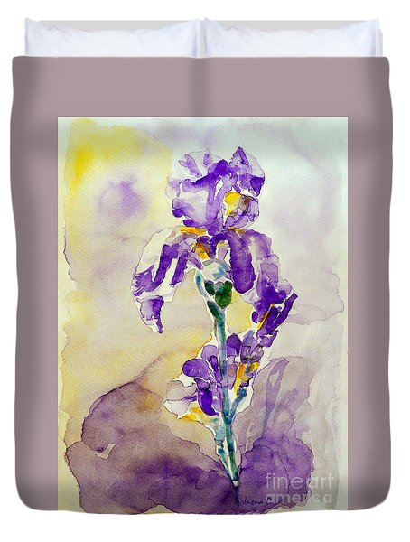 Duvet Cover featuring the painting Iris 2 by Jasna Dragun