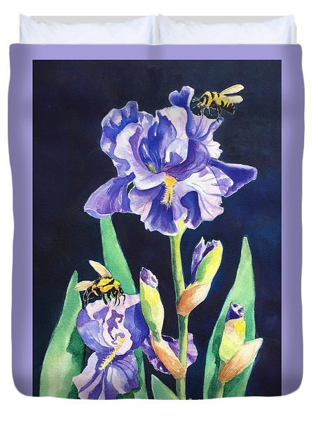 Iris And Bees Duvet Cover
