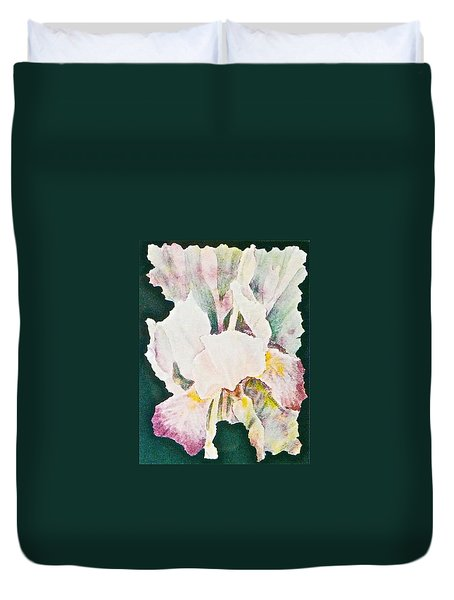 Duvet Cover featuring the painting Iris And Buds by Carolyn Rosenberger