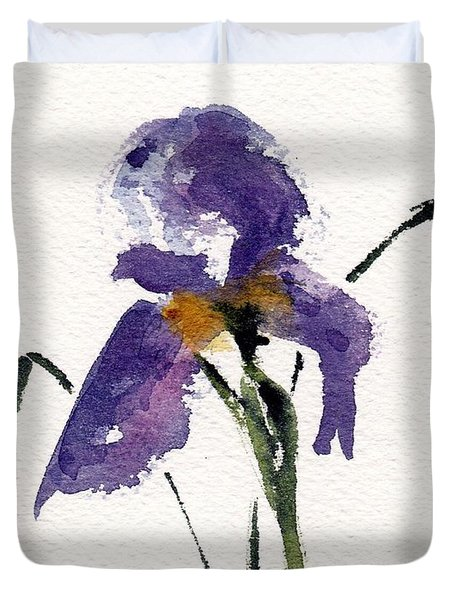 Duvet Cover featuring the painting Iris  by Anne Duke