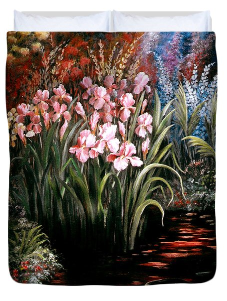 Iris By The Pond Duvet Cover