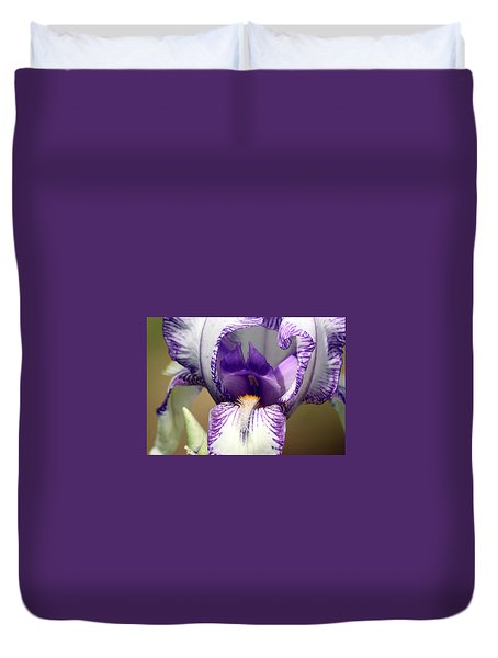Duvet Cover featuring the photograph Iris Close-up by Sheila Brown