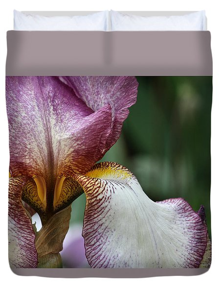 Duvet Cover featuring the photograph Iris Close Up by Shirley Mitchell