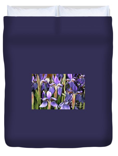 Duvet Cover featuring the photograph Iris Fantasy by Benanne Stiens