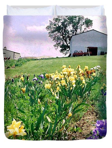 Duvet Cover featuring the photograph Iris Farm by Steve Karol