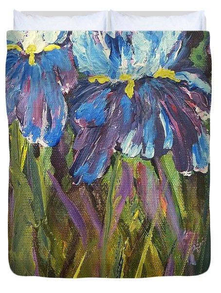 Iris Floral Garden Duvet Cover by Claire Bull