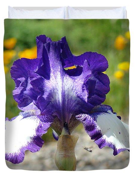 Iris Flower Purple White Irises Nature Landscape Giclee Art Prints Baslee Troutman Duvet Cover by Baslee Troutman
