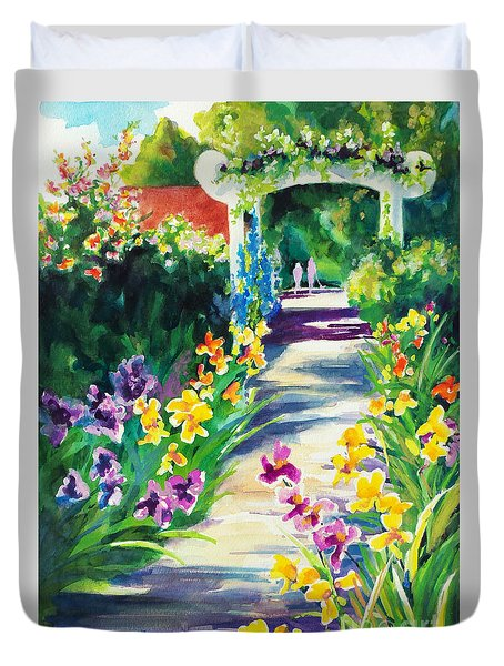 Duvet Cover featuring the painting Iris Garden Walkway   by Kathy Braud