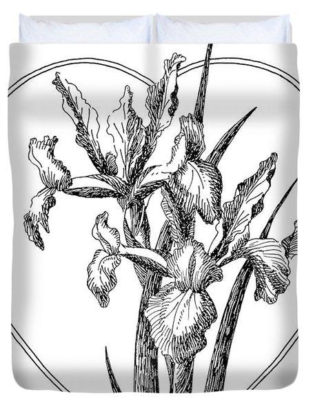 Iris Heart Drawing 3 Duvet Cover