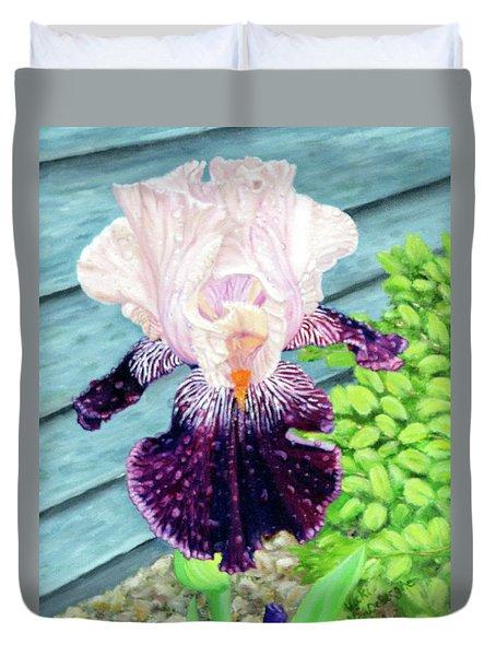 Iris In The Spring Rain Duvet Cover