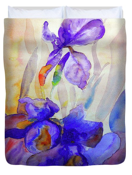 Duvet Cover featuring the painting Iris by Jasna Dragun