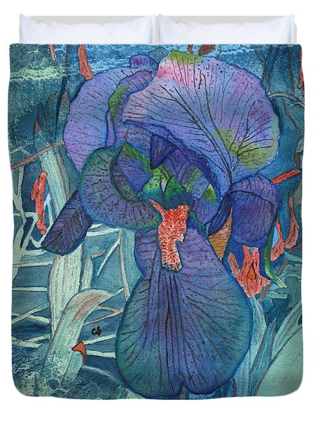 Iris Lace With Wild Columbine Duvet Cover