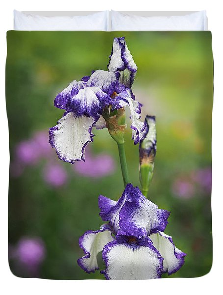 Duvet Cover featuring the photograph Iris Loop The Loop  by Rona Black