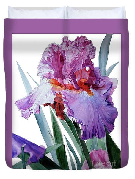 Watercolor Of A Tall Bearded Iris In Pink, Lilac And Red I Call Iris Pavarotti Duvet Cover