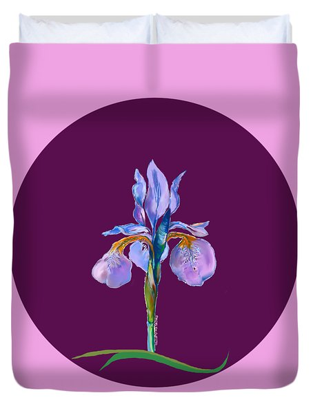 Iris On Red Purple Duvet Cover by Mary Armstrong