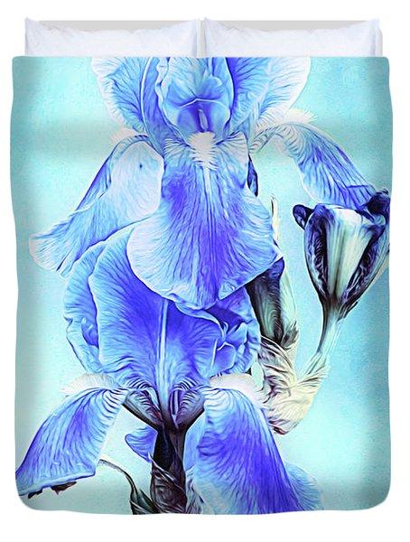 Iris Pair In Blue Duvet Cover