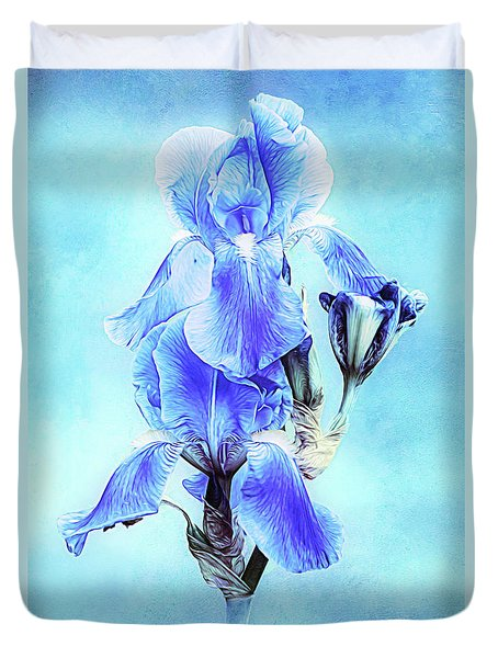 Iris Pair In Blue Duvet Cover