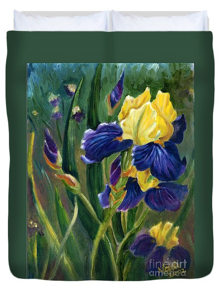 Duvet Cover featuring the painting Iris by Renate Nadi Wesley